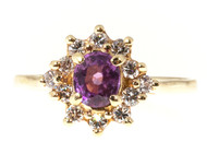 Estate 14k Super Bright Gem Hot Pink Sapphire and Diamond Oval Cluster Ring