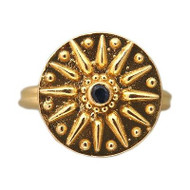 "Vintage Estate 22k Yellow Gold ""Z"" Sundial Motif Round Sapphire Ring"