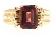 Vintage Ring 3.50ct Pink Tourmaline Emerald Cut 14k Yellow Gold