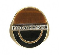 Estate Men's 14k Brushed Yellow Gold 1960'S Designer Tiger's Eye & Diamond Ring