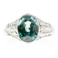 1930 Art Deco Vintage 5.68ct Natural Blue Zircon White Gold Ring