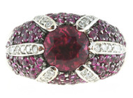 Vintage Sonia B Design 18k Gold Fine Deep Pink Tourmaline Diamond Accent Ring