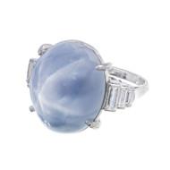 Estate Art Deco Platinum 1920s 30.0ct Domed Star Sapphire Baguette Diamond Ring