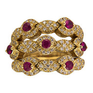 Designer Sonia B 18k Yellow Gold 3 Row Ruby Full Cut Diamond Flex Top Ring