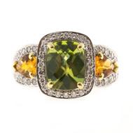 Vintage Charles Krypell Cushion Peridot 18k White Gold Citrine Diamond Ring