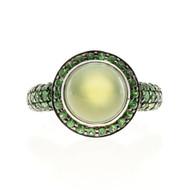 Crivelli 18k White Gold Peridot 4.00ct Cabochon 2.40ct Tsavorite Garnet Ring