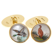 Vintage B + S 18k Reverse Carved Crystal Duck Pheasant Solid Gold Cuff Links