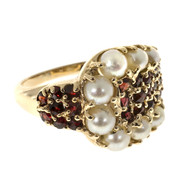 Vintage 1950s 30 Bright Red Garnet 8 Cultured Half Pearl 14k Buckle Style Ring