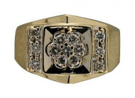 Estate Men's 14k Yellow Shank & White Gold Top 13 Full Cut Diamond Unique Ring