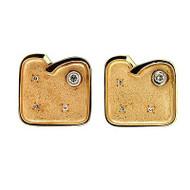 Estate Unique 1960s 14k Textured Yellow Gold Full/Single Cut Diamond Cuff Links