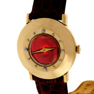 1950 LeCoultre Custom Colored Vivid Red Dial 14k Yellow Gold Strap Watch