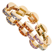 Crescent Link 32.00ct Multi Color Stone 18k Yellow Gold Bracelet