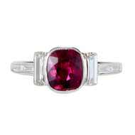 Antique Art Deco 1.66ct Natural Cushion Cut Untreated Ruby Platinum Diamond Ring