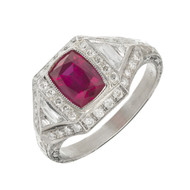 Antique Art Deco 1.33ct Cushion Cut Natural Ruby Platinum Diamond Ring