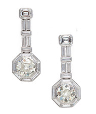 Art Deco Diamond Emerald Cut Platinum Dangle Earrings