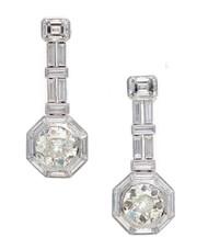 Art Deco Diamond Emerald Cut Platinum Dangle Earrings