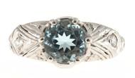 Antique Art Deco Filigree Ring 1.50ct Natural Rare Gem Aqua