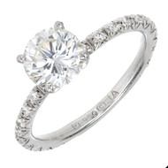 Estate Diamond Engagement Ring Platinum 1.02ct Certified Diamond Pave Sides