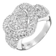 Domed 14k White Gold Sjm 2.75ct Pave Full Cut Round Diamond Double Heart Ring
