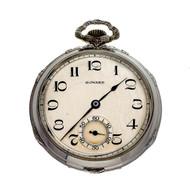 E. Howard Art Deco 14k White Gold Pocket Watch Open Face