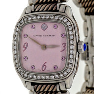 David Yurman Thoroughbred Pink Dial Diamond Bezel Wrist Watch