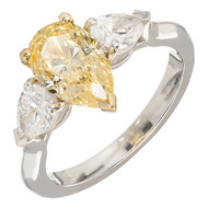 Estate 1.54ct Pear Shaped Certified Fancy Intense Yellow Diamond Platinum Ring