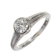 Old European Cut Diamond White Gold Engagement Ring