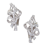Diamond Platinum Flower Earrings