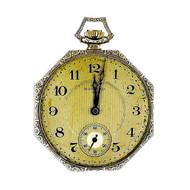 E. Howard Co Octagonal 1920 14k White Gold Pocket Watch