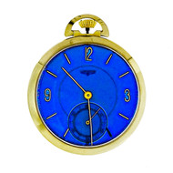 Longines 14k Gold Pocket watch Custom Colored Bright Blue Dial 17 Jewels
