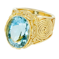 Vintage Luna Felix 9.41ct Aqua Handmade Granulated Yellow Gold Ring