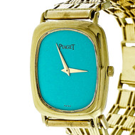 Vintage 1970 Piaget 9251 9P2 18k Yellow Gold Watch Custom Colored Turquoise Dial