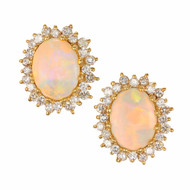 5.50ct Crystal Opal 18k Yellow Gold Diamond Stud Earrings