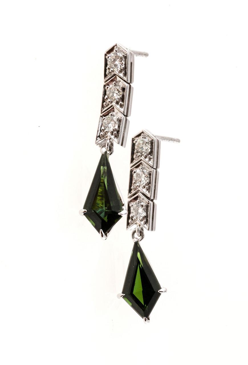 antique art deco platinum dangle earrings kite green tourmaline petersuchyjewelers. Black Bedroom Furniture Sets. Home Design Ideas