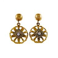 1950 .04ct Diamond 14k Yellow Gold Dangle Earrings