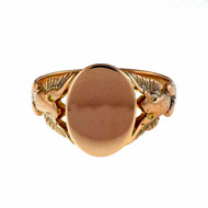 Victorian Men's 1890 14k Pink Gold Signet Ring