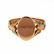 Victorian Men's 1890 14k Pink Gold Signet Ring