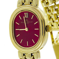 Ladies Baume & Mercier 14k Watch Refinished Custom Colored Bright Red Dial