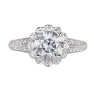 1.55ct Engagement Ring Platinum PSD Kings Crown Halo Design