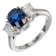 Antique Cushion Cut 3.11ct Natural Sapphire PSD Platinum Diamond Ring