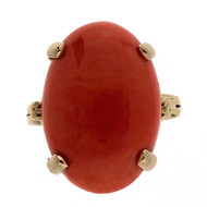 Antique 1940 14k Yellow Gold Orange Coral 9.70ct Ring