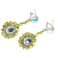 Bellari 10.30ct Blue Topaz Peridot Silver Pink Gold Dangle Earrings