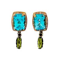 Bellari 17.45ct Blue Topaz Silver Pink Gold Diamond Peridot Dangle Earrings