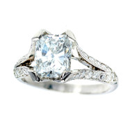 Radiant Cut Diamond Platinum Engagement Ring