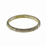 1930 Vintage Platinum Wheat Design Engraved Samos Wedding Band Ring