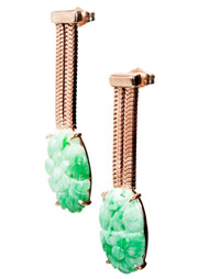 Antique Retro Art Deco 1935 11.86ct Jadeite Jade 14k Pink Gold Dangle Earrings
