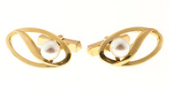 Vintage Designer Mikimoto 6.5mm Cultured Pearl 14k Yellow Gold Cuff Links