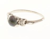 Estate 1920's Art Deco Platinum 1.94CT Gem Black Crystal Domed Opal Diamond Ring