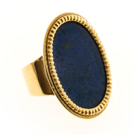 Vintage Corletto Rare Bright Blue 18k Yellow Gold Lapis Lazuli Ring Natural Ital