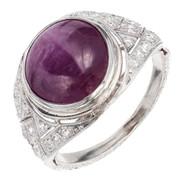 Antique Engagement Art Deco 5.85ct Natural Star Ruby Platinum Ring